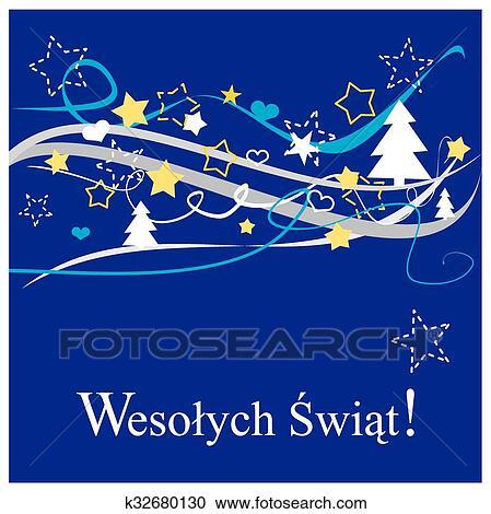 Merry Christmas In Polish.Christmas Polish Vector Card Clipart