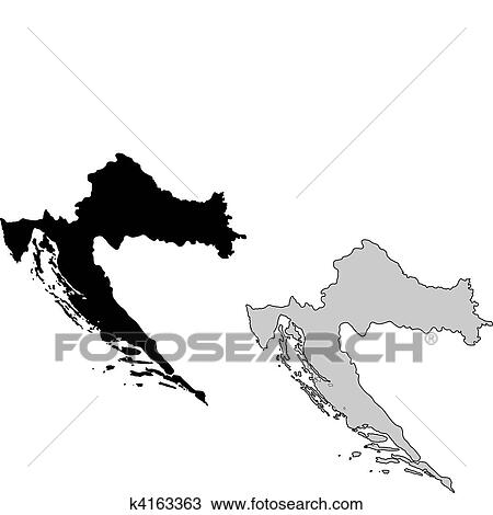 Clipart of Croatia map. Black and white. Mercator projection ...
