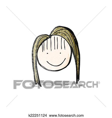 Clipart Dibujo Del Niño De Un Feliz Cara Femenina K22251124