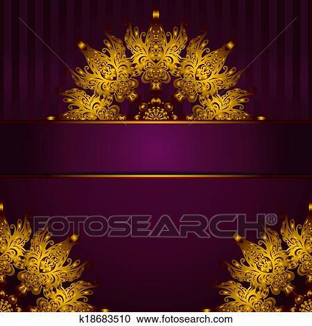 Clipart - dorado, medallón, vendimia, marco, vector k18683510 ...
