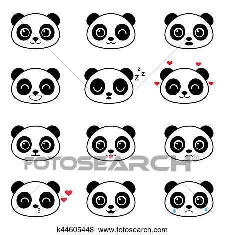 Ensemble De Mignon Dessin Animé Panda émotions Clipart