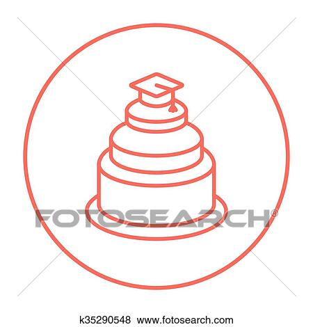 119bb0af001 Clip Art of Graduation cap on top of cake line icon. k35290548 ...