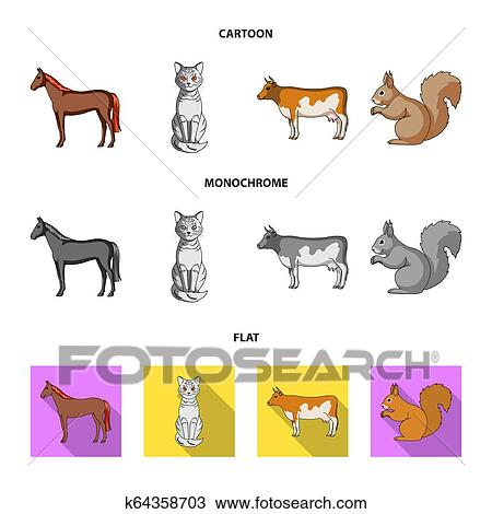 horse cow cat squirrel and other kinds of animals