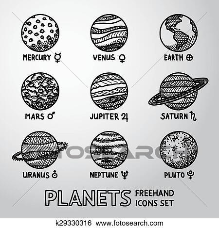 Berühmt Clipart - ensemble, de, main, dessiné, planète, icônes, à, noms  CX35