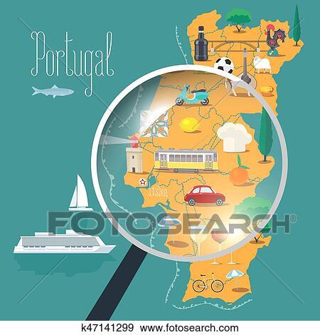 Mapa De Portugal Com Loupe Vetorial Ilustracao Desenho