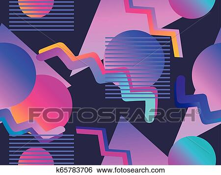 Memphis seamless pattern with gradient shape in the style of 80s   Synthwave, futurism background  Retrowave  Vector illustration Clip Art