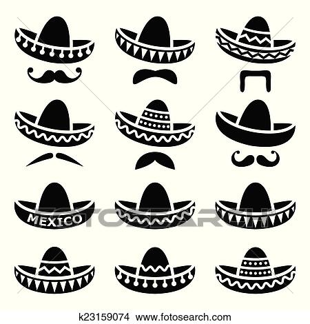 Clipart - Mexican Sombrero hat with moustache. Fotosearch - Search Clip  Art 1516d2e0c49