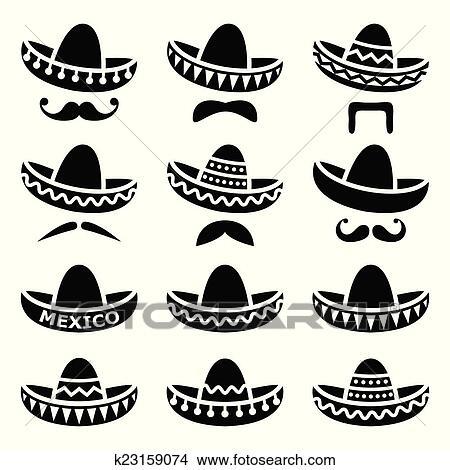 5a8622302 Mexican, sombrero, klobúk, s, fúzy Klipart | k23159074 | Fotosearch