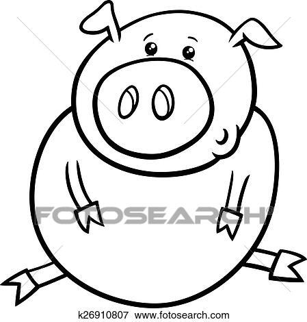 Clip Art - poco, cerdo, o, cerdito, colorido, página k26910807 ...