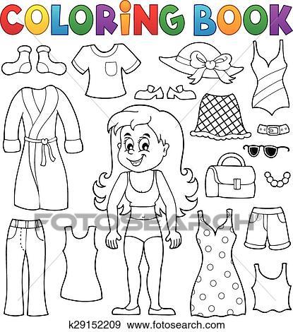 Ausmalbilder Mädchen Mit Kleidung Thema 1 Clip Art