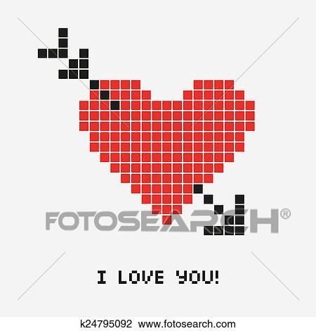Coeur Pixel Dessin K24795092 Fotosearch