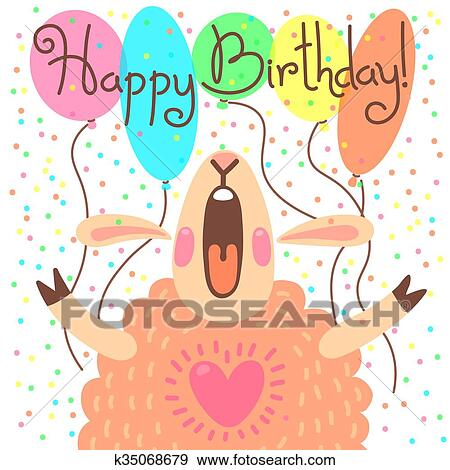 Clip Art Of Cute Happy Birthday Card With Funny Lamb K35068679