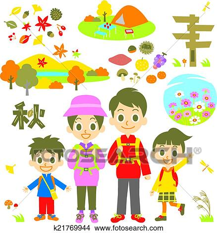 clipart of hiking autumn family k21769944 search clip