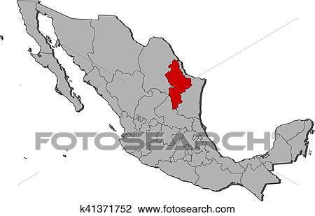 Clipart Of Map Mexico Nuevo Leon K41371752 Search Clip Art
