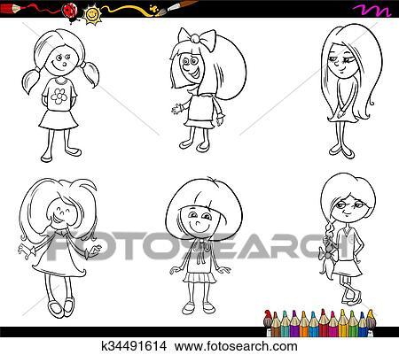 Clipart - niño, niñas, conjunto, libro colorear k34491614 - Buscar ...