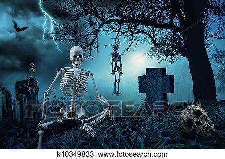 Nuit Scène Halloween à Cimetière Dessin