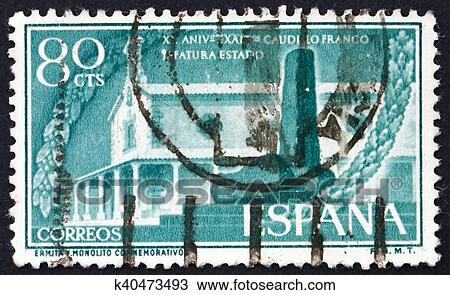 Stock Photo Of Postage Stamp Spain 1956 Hermitage And Monument