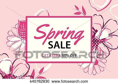 Primavera Cartaz Venda Modelo Com Flor Background Can