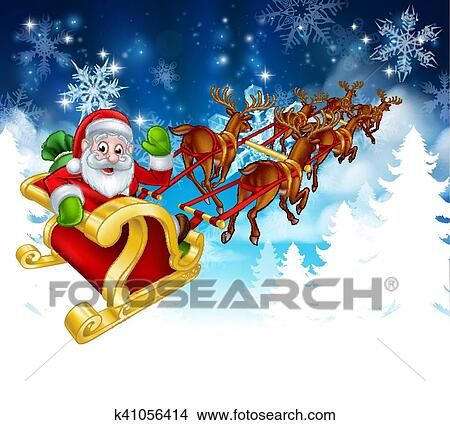 clipart of santa sleigh christmas background k41056414 search clip