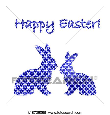 Silueta De Dois Bunny Easter Coelhos Decorado Com