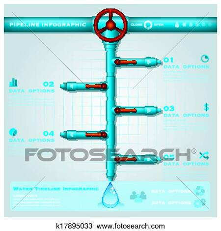 Clipart Of Water Pipe Business Infographic Timeline Design Template - Timeline design template