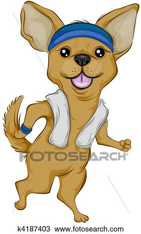 drawing of chihuahua jogging k4187403 search clipart illustration