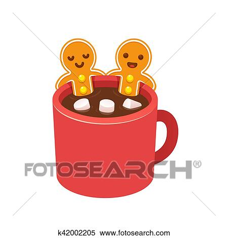 Clipart Of Gingerbread Man Cookie In Hot Chocolate Cup K42002205