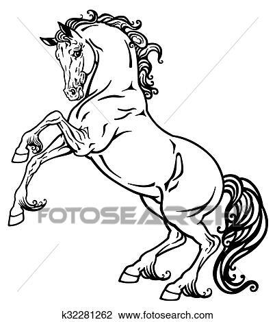 Clipart Pferd Schwarz Weiß K32281262 Suche Clip Art