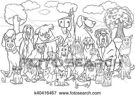 purebred, hunde, ausmalbilder clip art | k40416467