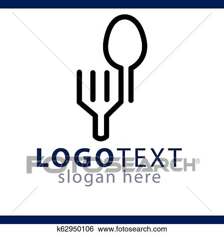 Spoon And Fork Kitchen Supplies Logo Line Vector Template Clip Art