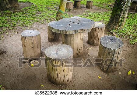 Bilder Stumpfe Sitze Park Gartenmobel Gemacht Von Holzern
