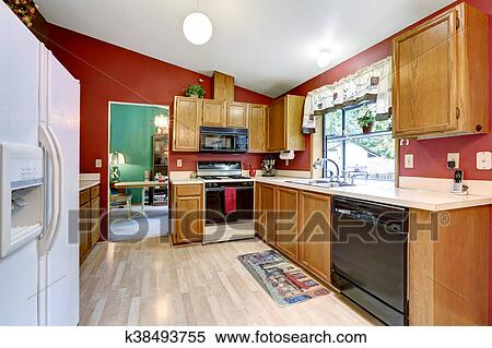 Colección de imágen - cocina, habitación, con, pared roja, techo ...