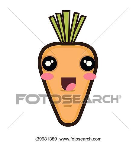 Clipart kawaii dessin anim carotte k39981389 - Dessin de carotte ...