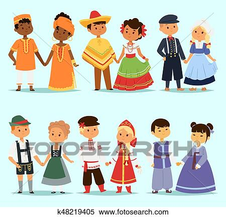 f6a2af4ce Lttle kids children couples character of world dress girls and boys in  different traditional national costumes and cute nationality dress vector  ...