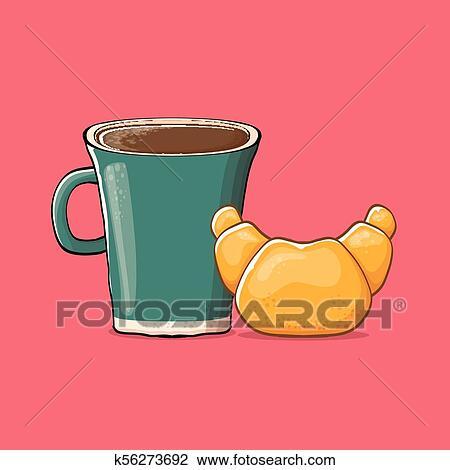 Bohnenkaffee Und Croissant Freigestellt Auf Rosa
