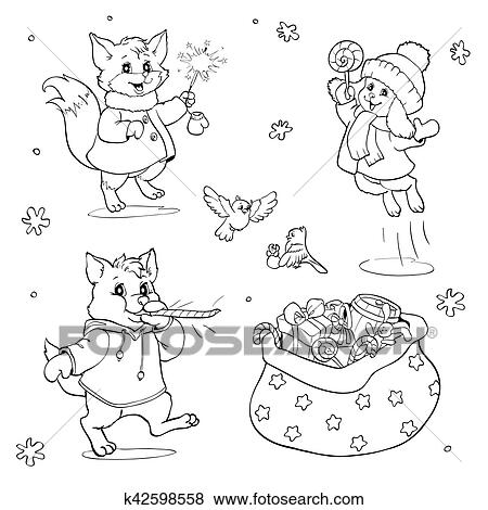 Coloring Book Or Page Cartoon Animals With Christmas Gifts Clip Art K42598558 Fotosearch