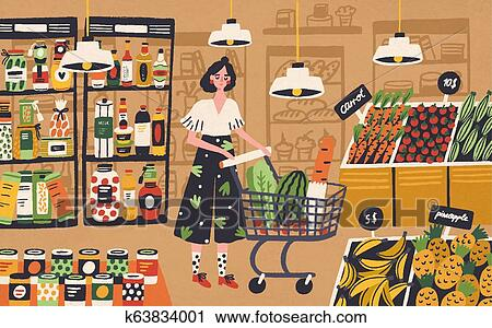 Cute Young Woman With Shopping Cart Choosing And Buying Products At Grocery Store Girl Purchasing Food At Supermarket Customer In Retail Shop Colorful Vector Illustration In Flat Cartoon Style Clipart K63834001