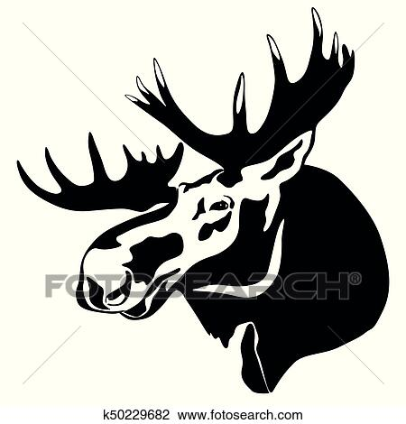 Clipart Of Elk Head K50229682 Search Clip Art Illustration Murals