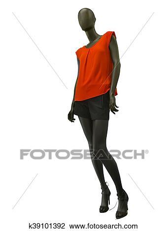 9bcf1312ec042f Femme, mannequin, habillé, dans, short, et, sommet rouge Banque d'Image
