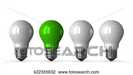 Clip Art   Green Tungsten Light Bulb And Three White Ones, Front View.  Fotosearch