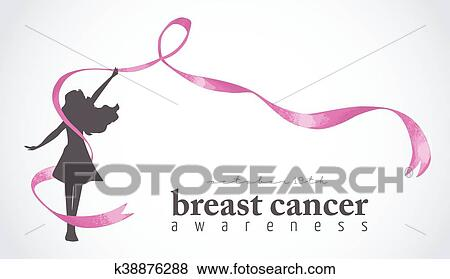 Happy Girl With Pink Ribbon For Breast Cancer Clip Art K38876288 Fotosearch