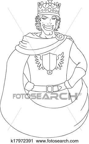 clipart young king with crown coloring page fotosearch search clip art illustration