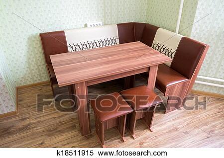 Kueche, eckig, sofa, und, tisch Stock Fotografie