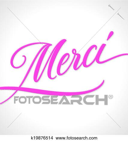 Merci Hand Lettering Vector Clipart K19876514 Fotosearch