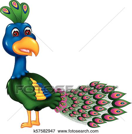 funny peacock cartoon standing with smile and waving clip art k57582947 fotosearch https www fotosearch com csp421 k57582947