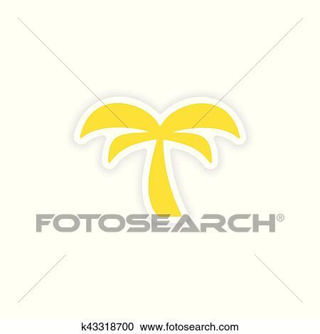 Icon Sticker Realistic Design On Paper Palm Tree Clipart K43318700