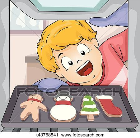 Baking Christmas Cookies Clipart.Kid Boy Baking Christmas Cookies Clipart