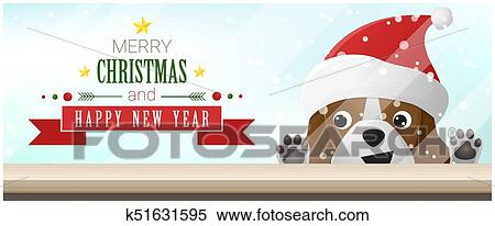 Christmas Beagle Clipart.Merry Christmas And Happy New Year Background With Beagle Dog Looking At Empty Table Top 1 Clipart