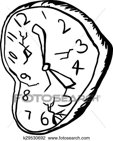 Stock Photo Of Outlined Broken Clock K29530692