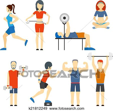 clip art of set of people exercising at the gym k21812249 search rh fotosearch com exercise clip art border exercise clipart free